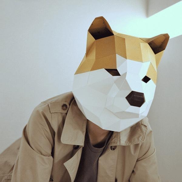 מסכת ראש אוריגמי - כלב