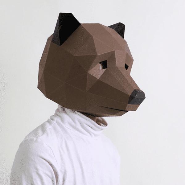 מסכת ראש אוריגמי - דוב חום