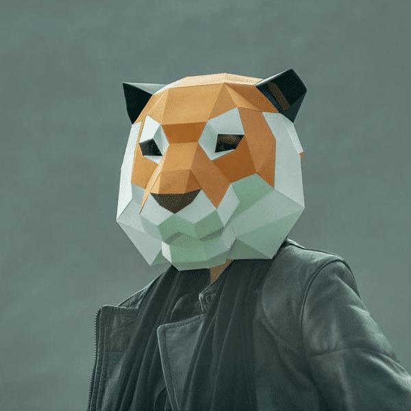 מסכת ראש אוריגמי - נמר