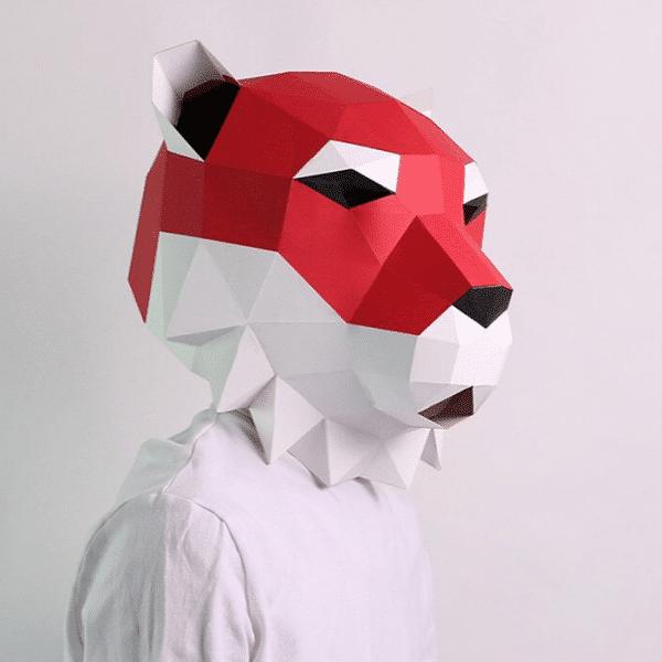 מסכת ראש אוריגמי - אריה אדום
