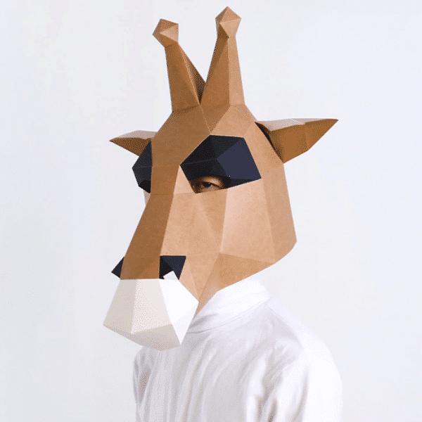 מסכת ראש אוריגמי - ג'ירף חום